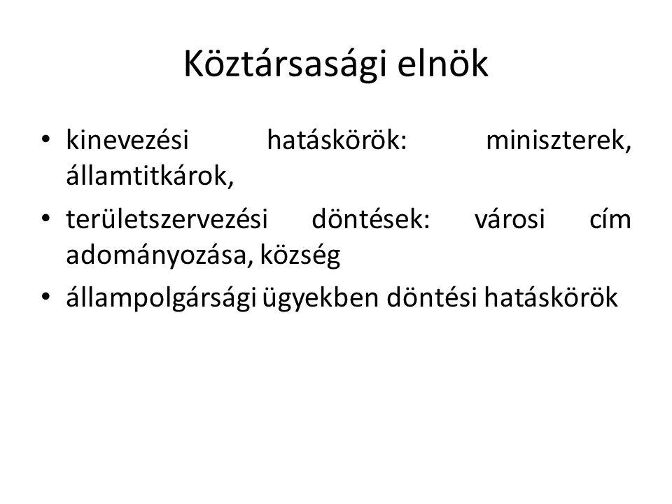 Köztársasági elnök kinevezési hatáskörök: miniszterek, államtitkárok,