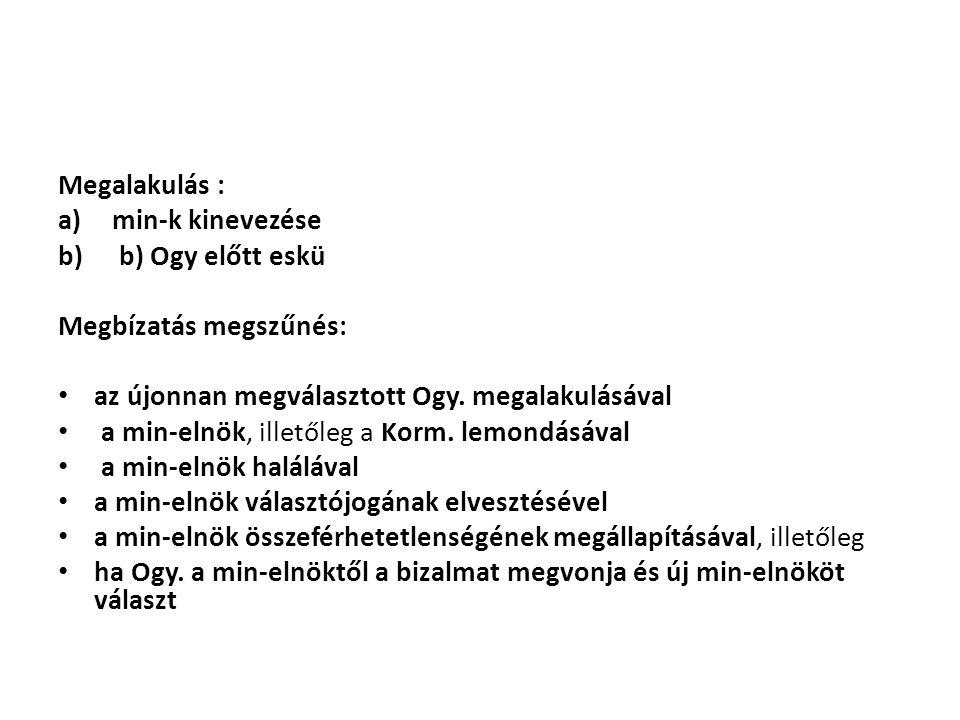 Megalakulás : min-k kinevezése. b) Ogy előtt eskü. Megbízatás megszűnés: az újonnan megválasztott Ogy. megalakulásával.