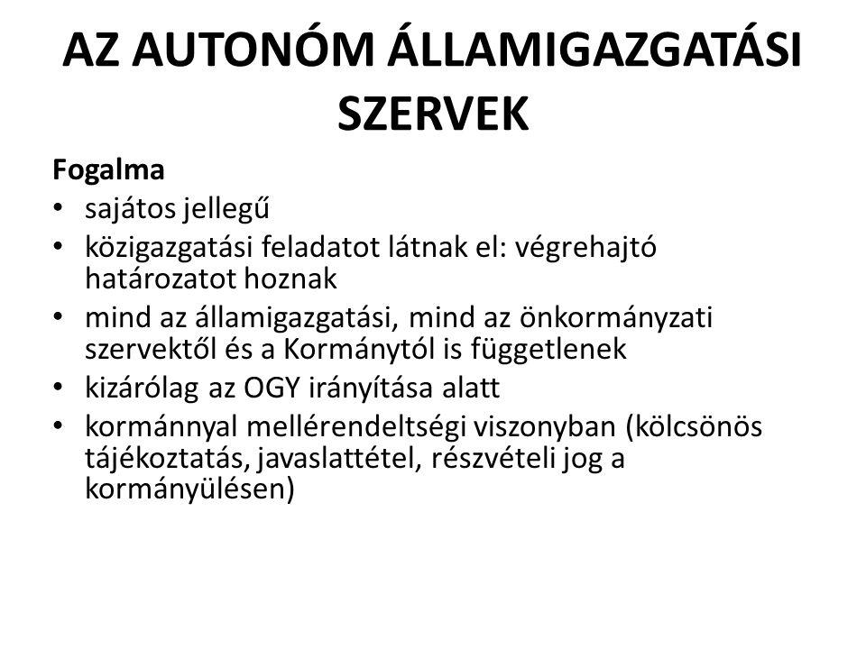 Az autonóm államigazgatási szervek