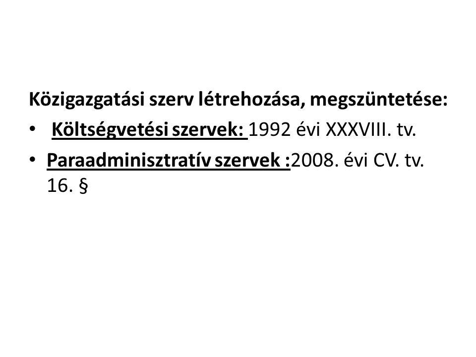 Közigazgatási szerv létrehozása, megszüntetése: