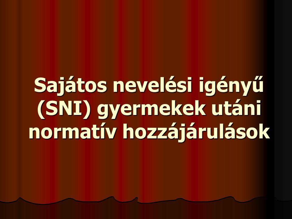 Sajátos nevelési igényű (SNI) gyermekek utáni normatív hozzájárulások