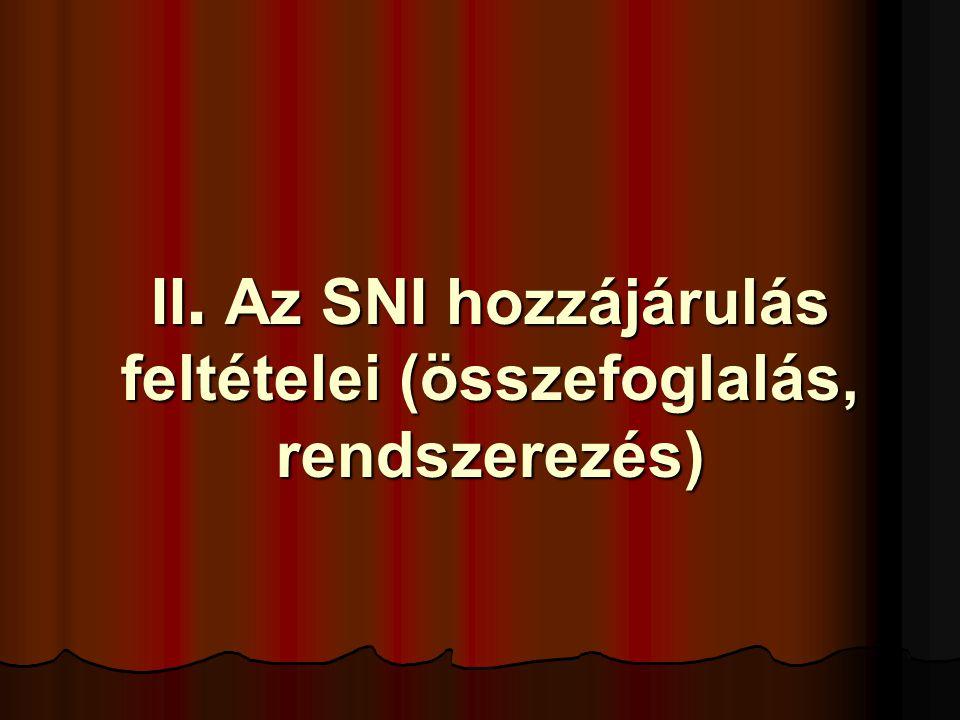 II. Az SNI hozzájárulás feltételei (összefoglalás, rendszerezés)
