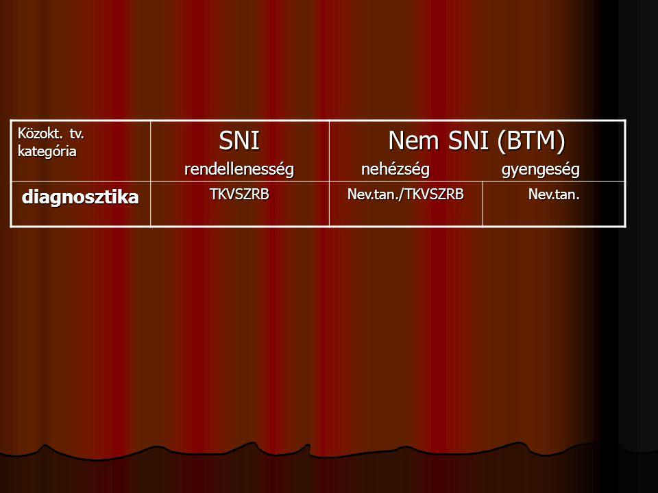 SNI Nem SNI (BTM) diagnosztika rendellenesség nehézség gyengeség
