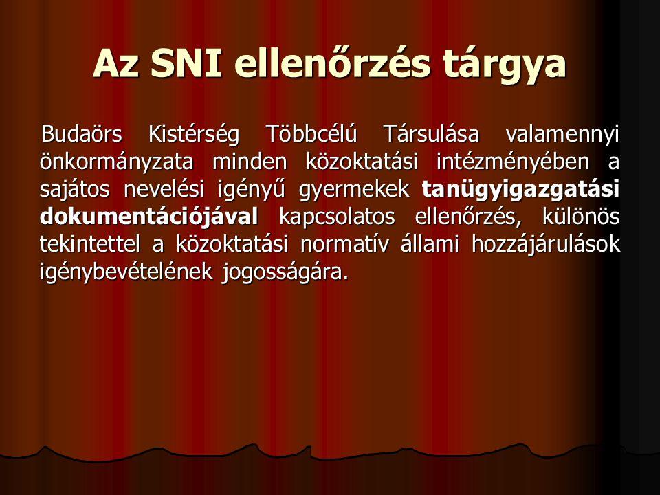 Az SNI ellenőrzés tárgya