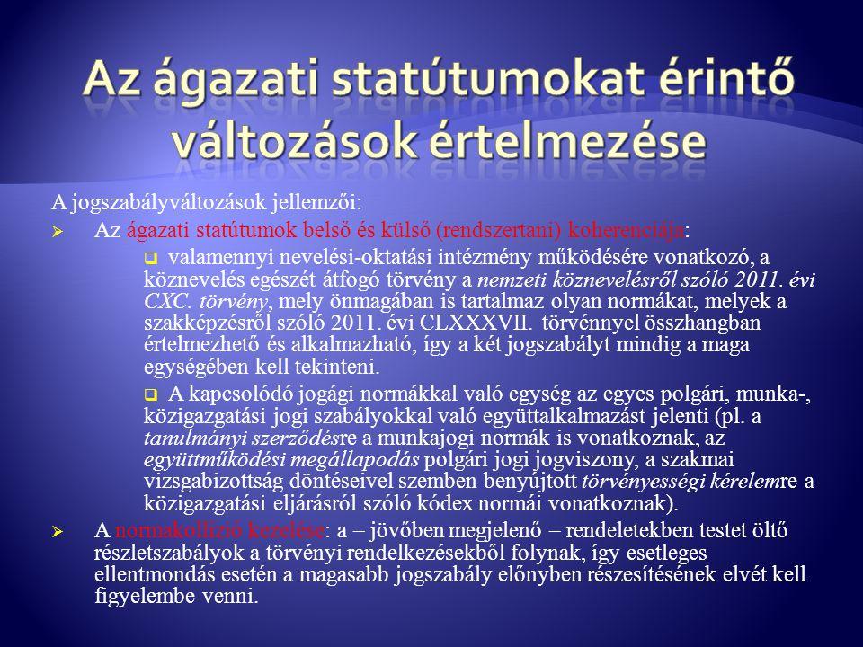 Az ágazati statútumokat érintő változások értelmezése