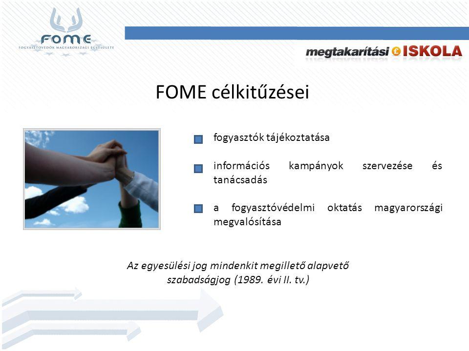 FOME célkitűzései fogyasztók tájékoztatása