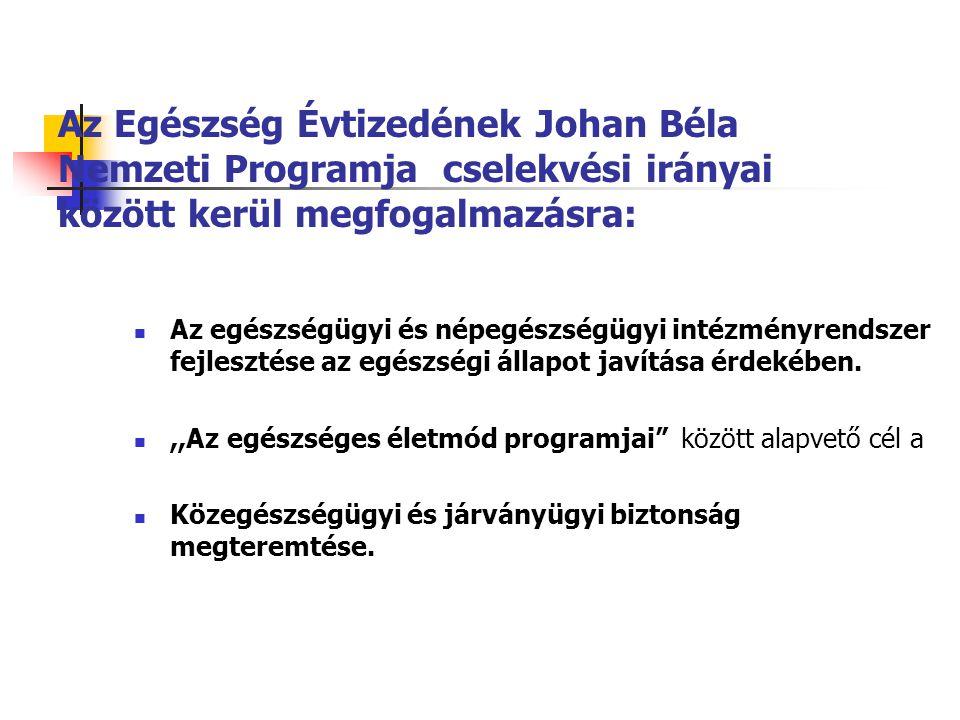 Az Egészség Évtizedének Johan Béla Nemzeti Programja cselekvési irányai között kerül megfogalmazásra: