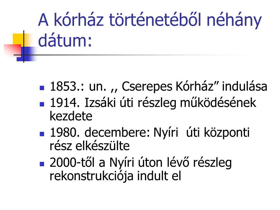 A kórház történetéből néhány dátum: