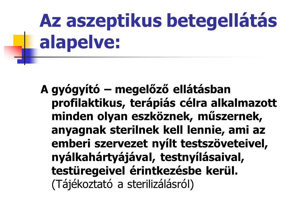 Az aszeptikus betegellátás alapelve: