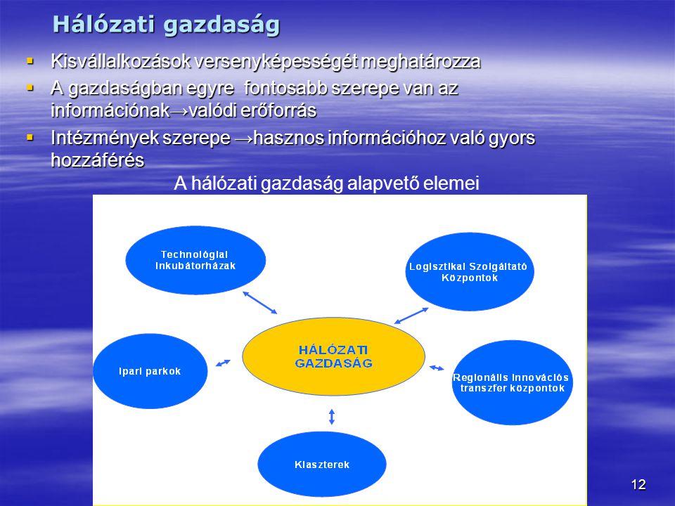 Hálózati gazdaság Kisvállalkozások versenyképességét meghatározza