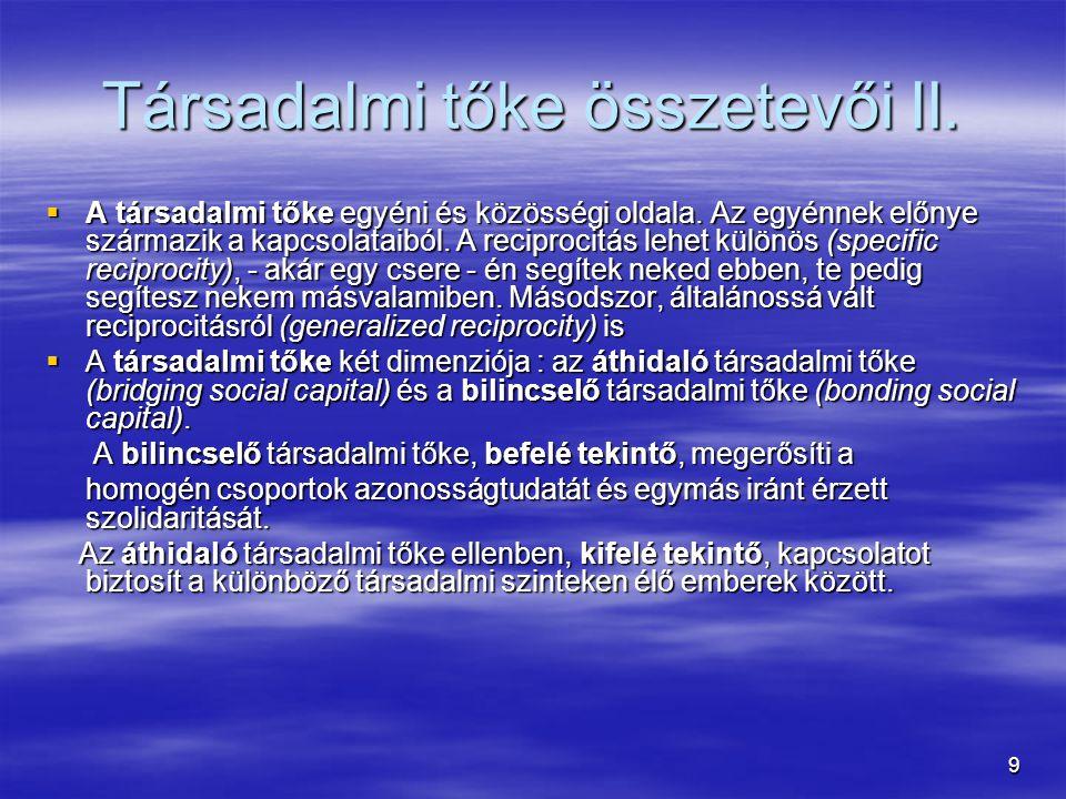 Társadalmi tőke összetevői II.