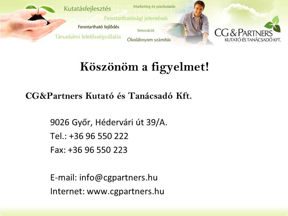 Köszönöm a figyelmet! CG&Partners Kutató és Tanácsadó Kft.