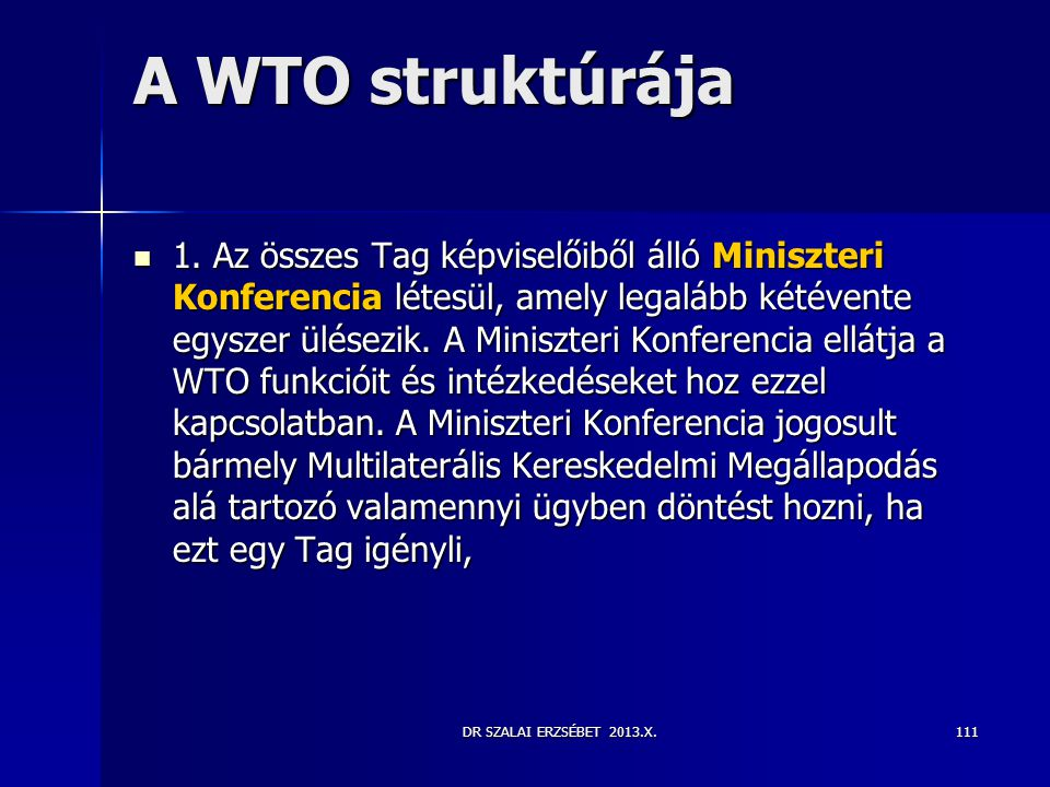 A WTO struktúrája