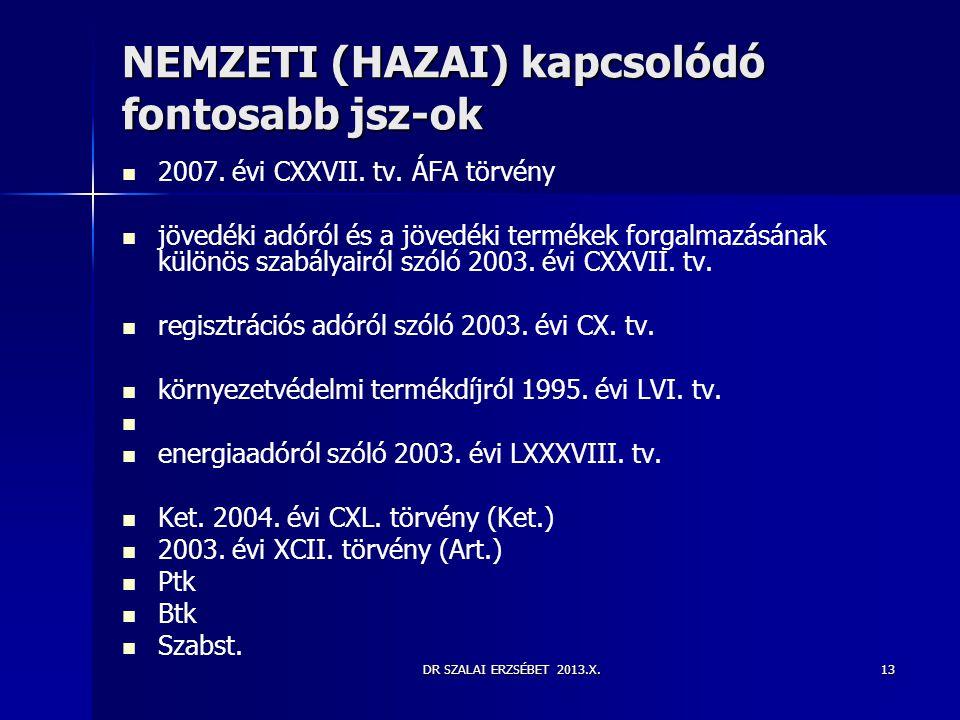 NEMZETI (HAZAI) kapcsolódó fontosabb jsz-ok