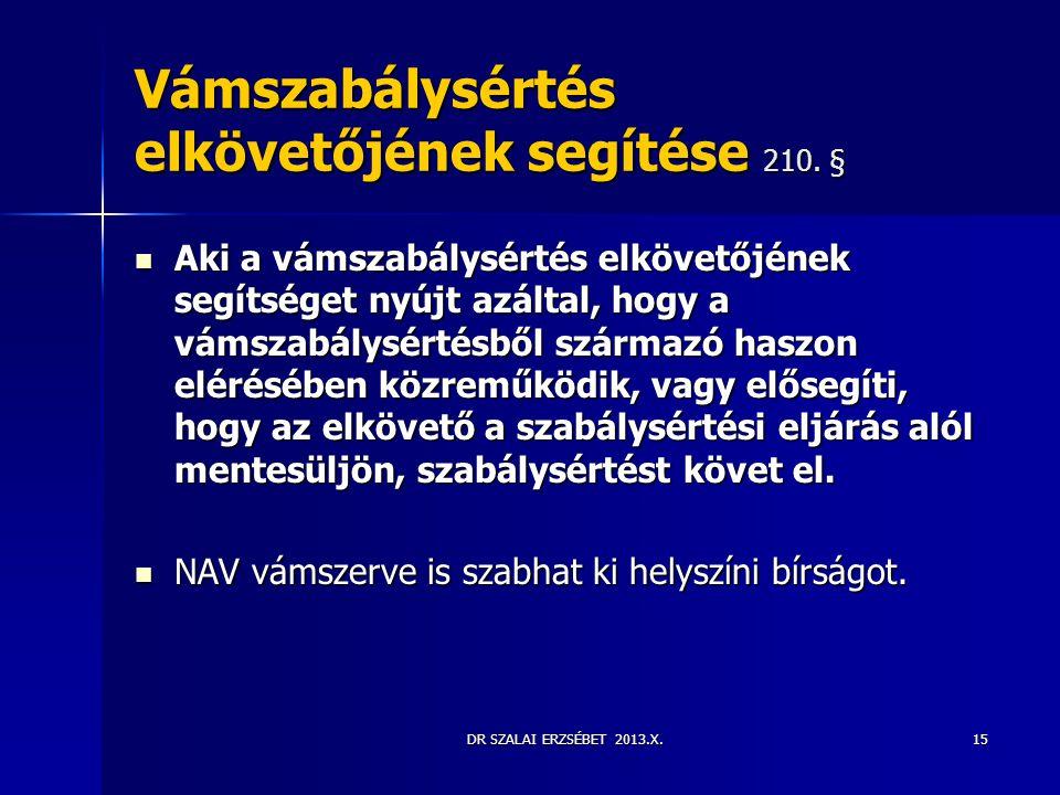 Vámszabálysértés elkövetőjének segítése 210. §