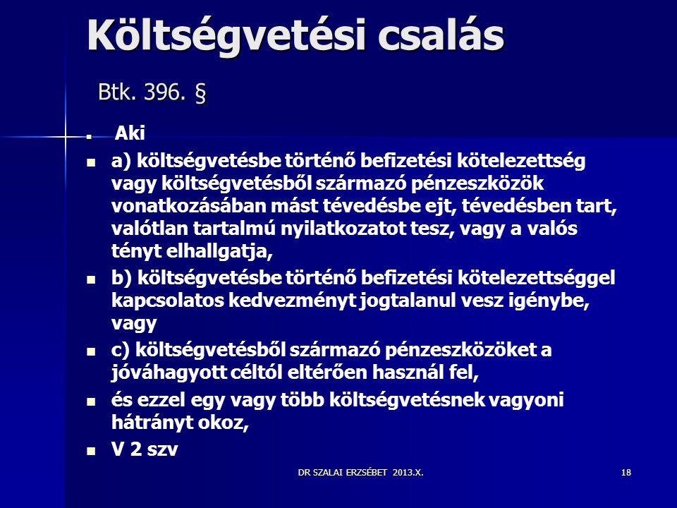 Költségvetési csalás Btk. 396. §