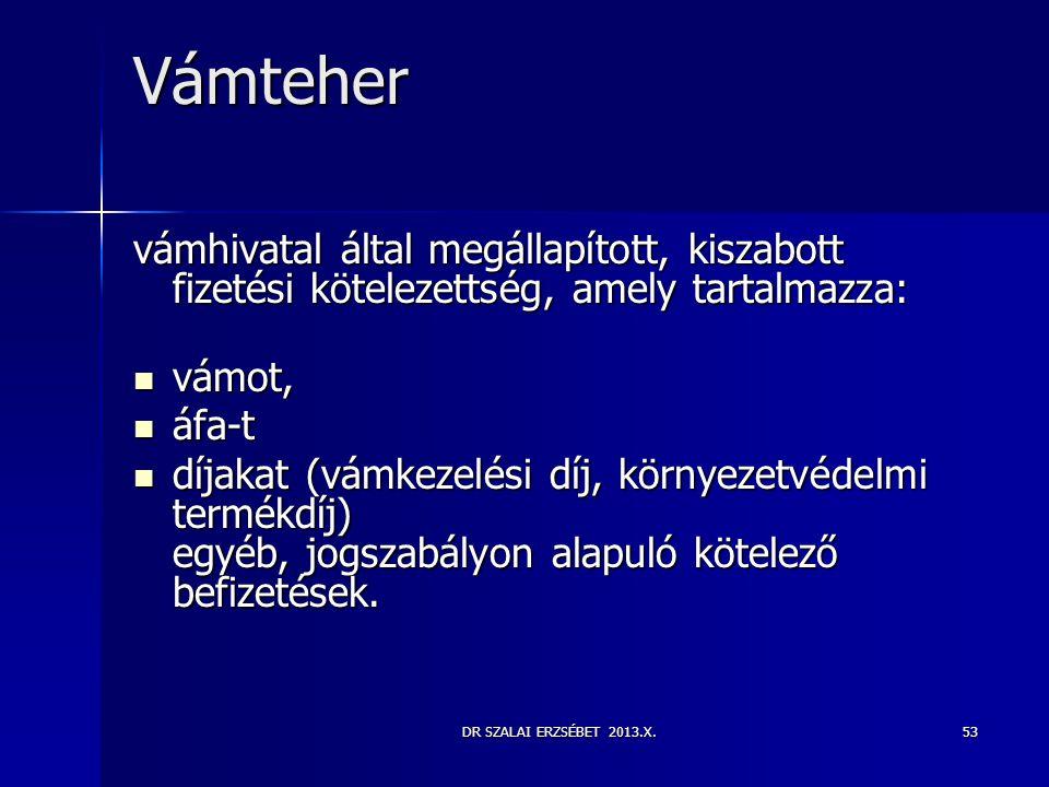Vámteher vámhivatal által megállapított, kiszabott fizetési kötelezettség, amely tartalmazza: vámot,