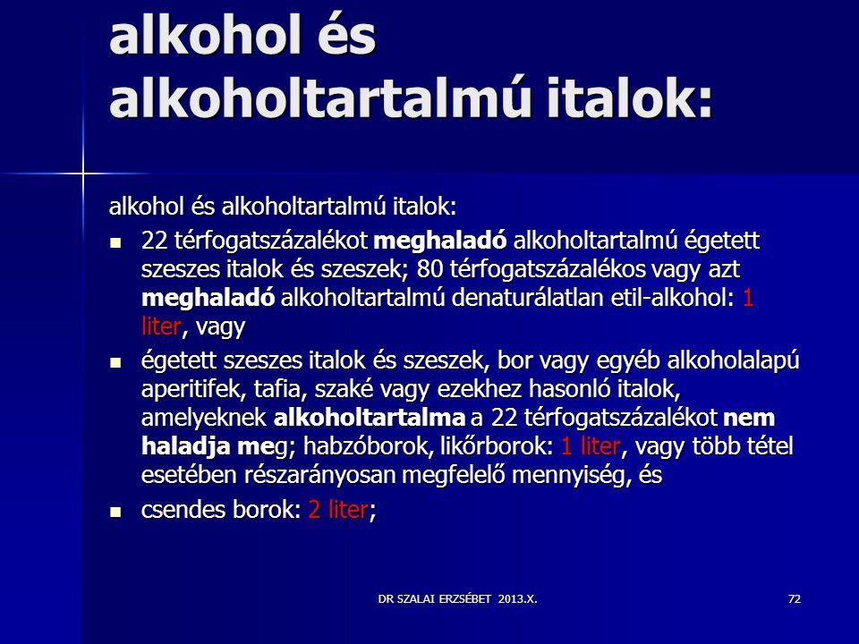 alkohol és alkoholtartalmú italok:
