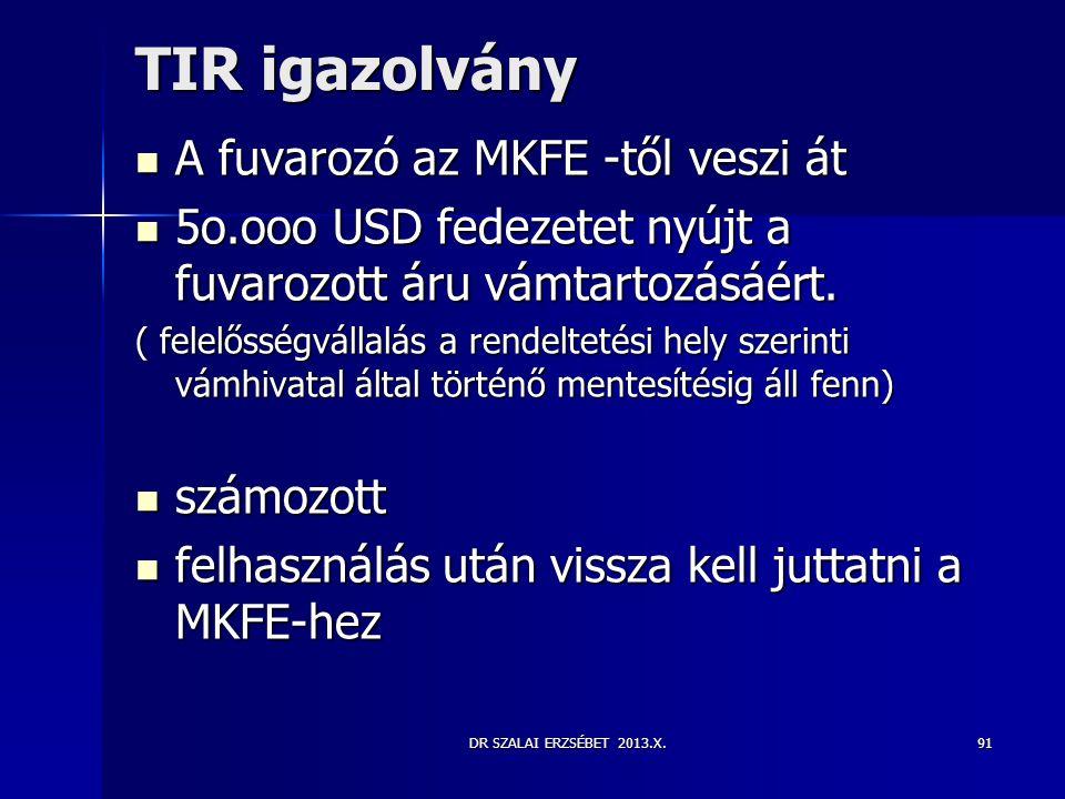 TIR igazolvány A fuvarozó az MKFE -től veszi át