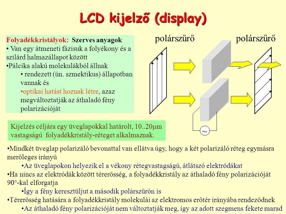 LCD kijelző (display) polárszűrő ~ Folyadékkristályok: Szerves anyagok