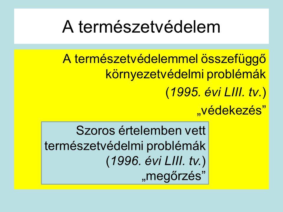 """A természetvédelem A természetvédelemmel összefüggő környezetvédelmi problémák (1995. évi LIII. tv.) """"védekezés"""