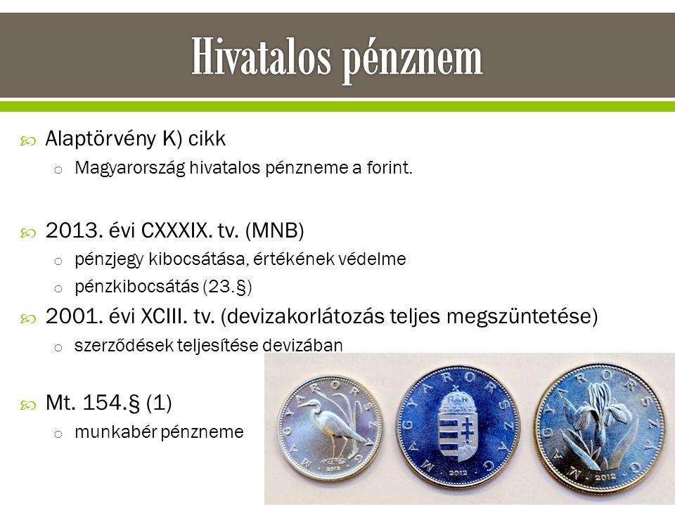 Hivatalos pénznem Alaptörvény K) cikk 2013. évi CXXXIX. tv. (MNB)