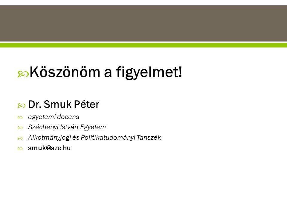 Köszönöm a figyelmet! Dr. Smuk Péter egyetemi docens