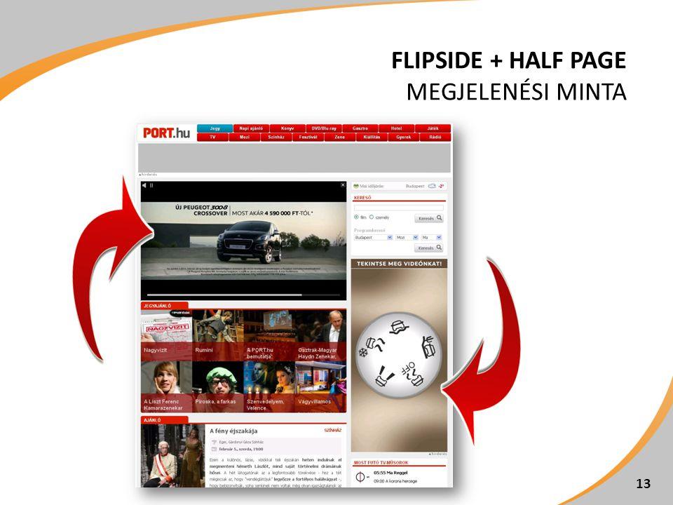 Flipside + Half page megjelenési minta