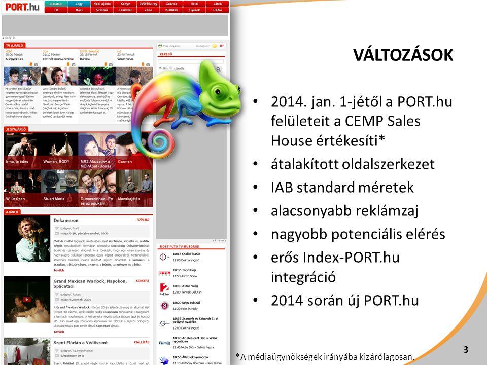 Változások 2014. jan. 1-jétől a PORT.hu felületeit a CEMP Sales House értékesíti* átalakított oldalszerkezet.