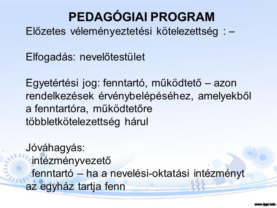 PEDAGÓGIAI PROGRAM Előzetes véleményeztetési kötelezettség : –