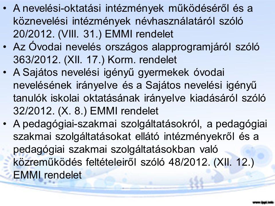 A nevelési-oktatási intézmények működéséről és a köznevelési intézmények névhasználatáról szóló 20/2012. (VIII. 31.) EMMI rendelet