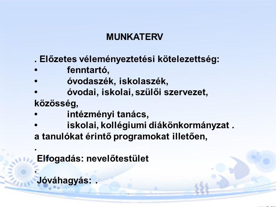 MUNKATERV . Előzetes véleményeztetési kötelezettség: • fenntartó, • óvodaszék, iskolaszék, • óvodai, iskolai, szülői szervezet, közösség,