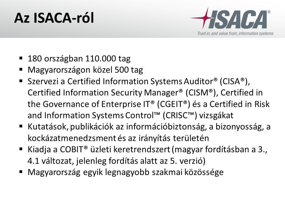 Az ISACA-ról 180 országban 110.000 tag Magyarországon közel 500 tag
