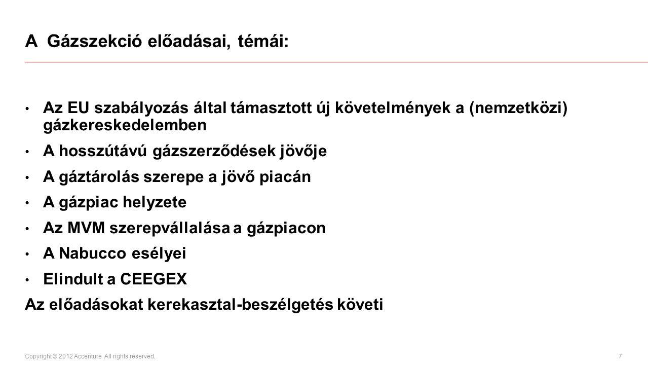 A Gázszekció előadásai, témái:
