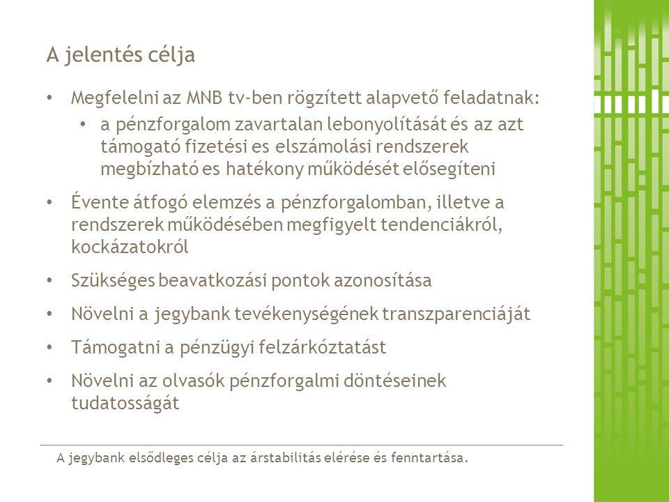 A jelentés célja Megfelelni az MNB tv-ben rögzített alapvető feladatnak: