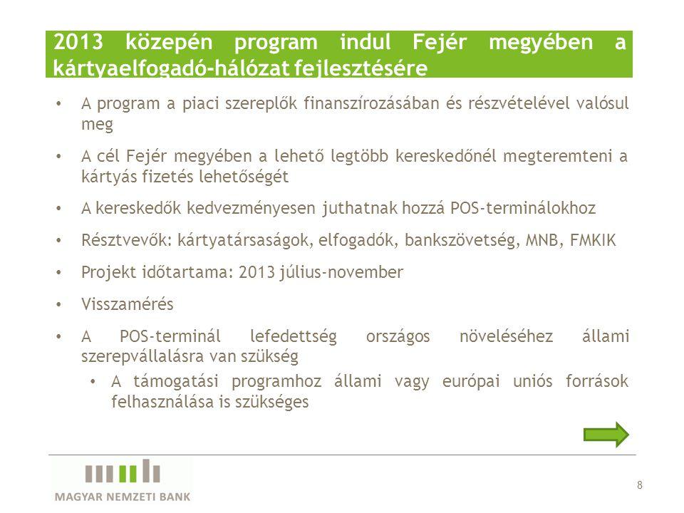 2013 közepén program indul Fejér megyében a kártyaelfogadó-hálózat fejlesztésére