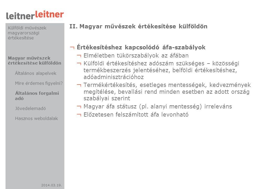II. Magyar művészek értékesítése külföldön