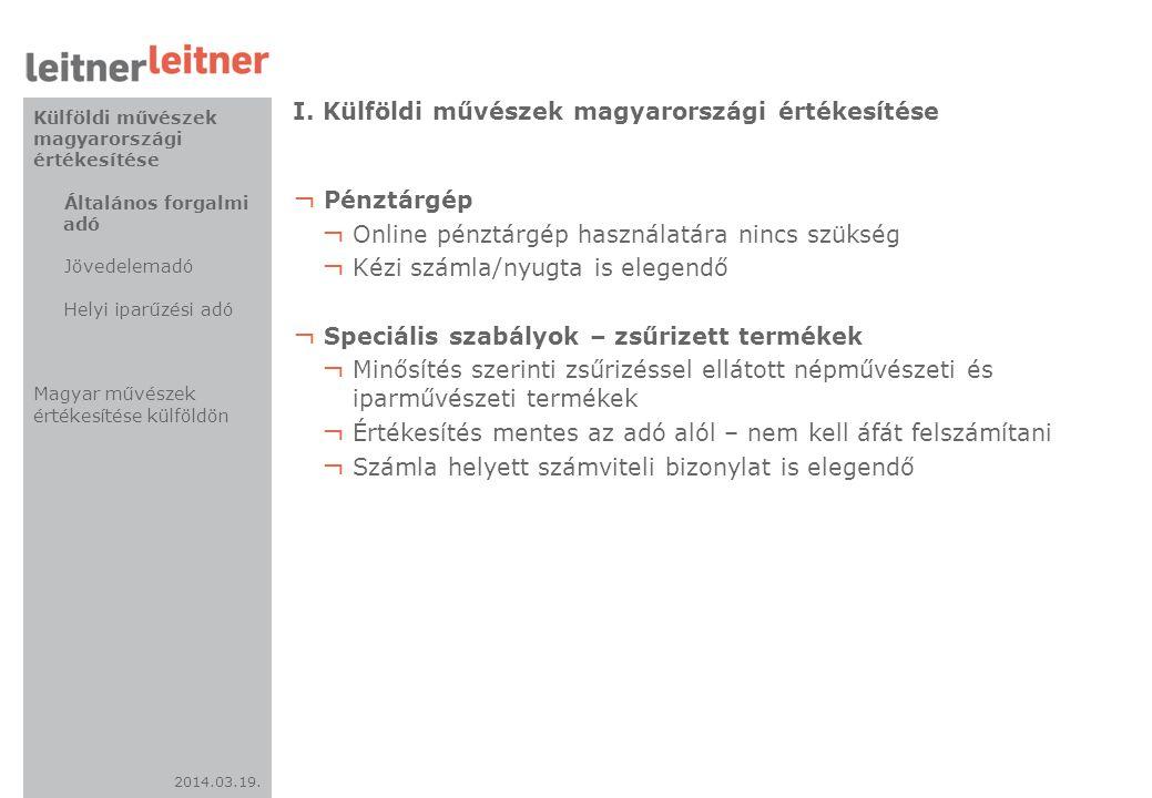 I. Külföldi művészek magyarországi értékesítése