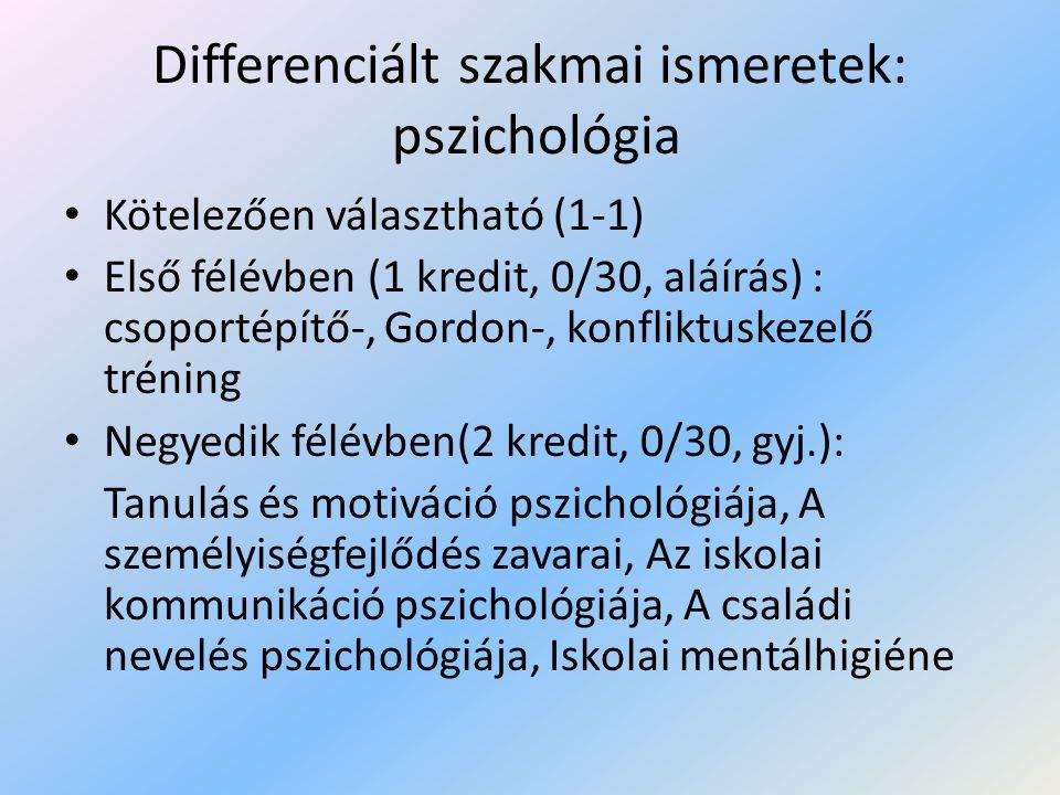 Differenciált szakmai ismeretek: pszichológia