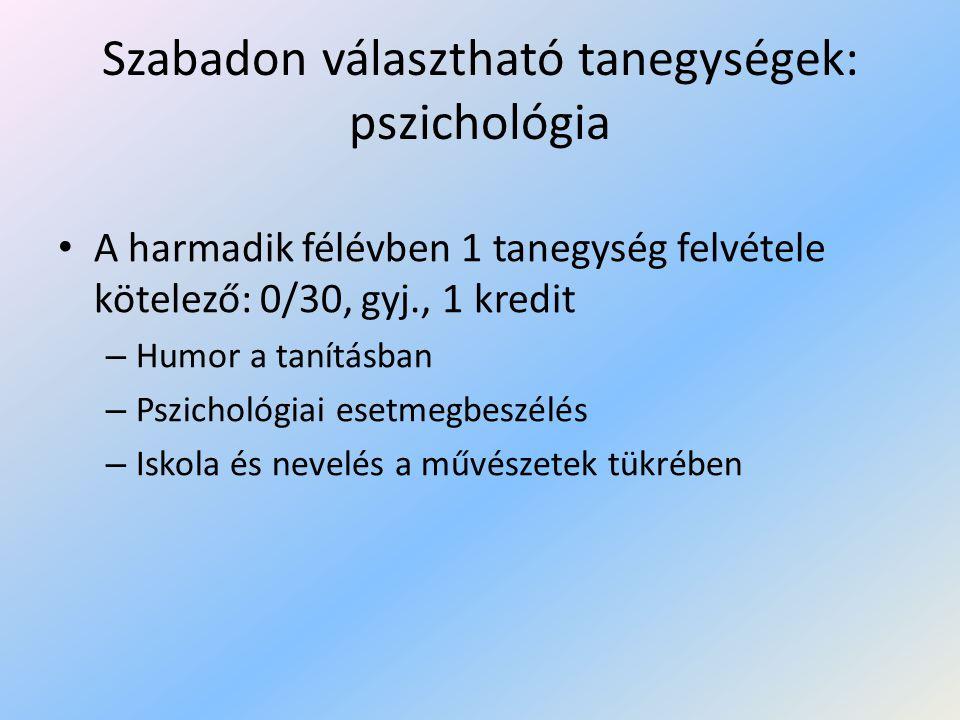 Szabadon választható tanegységek: pszichológia