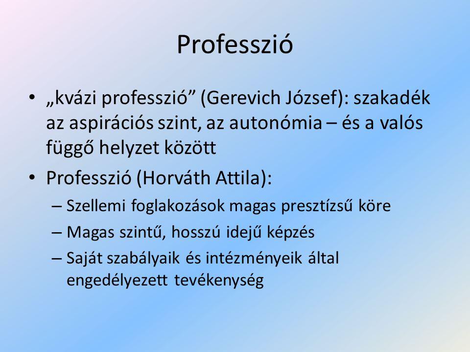 """Professzió """"kvázi professzió (Gerevich József): szakadék az aspirációs szint, az autonómia – és a valós függő helyzet között."""