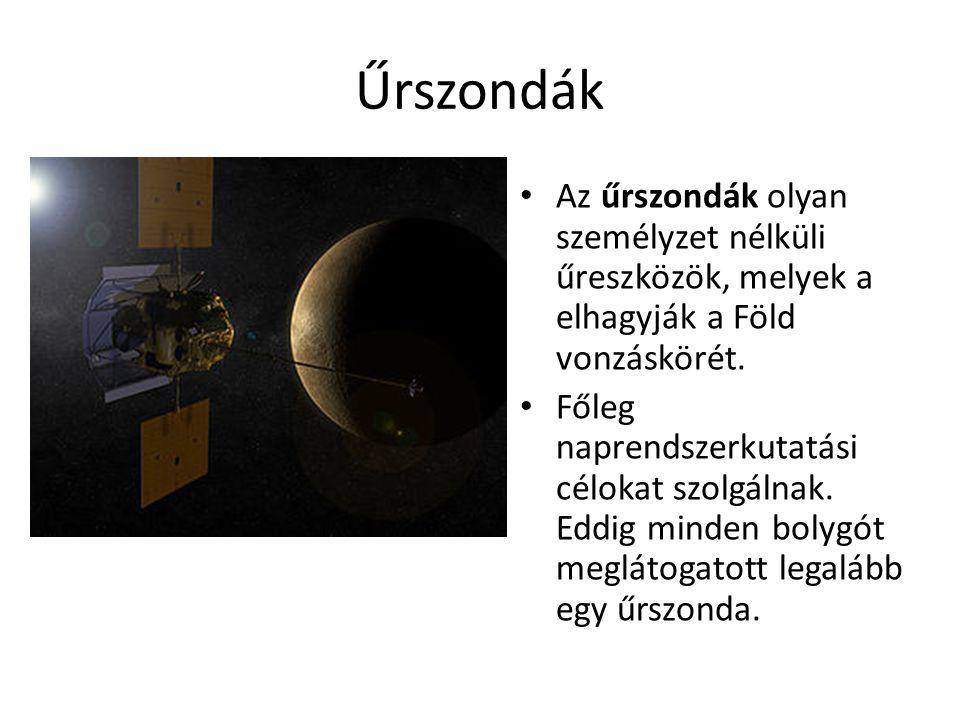 Űrszondák Az űrszondák olyan személyzet nélküli űreszközök, melyek a elhagyják a Föld vonzáskörét.