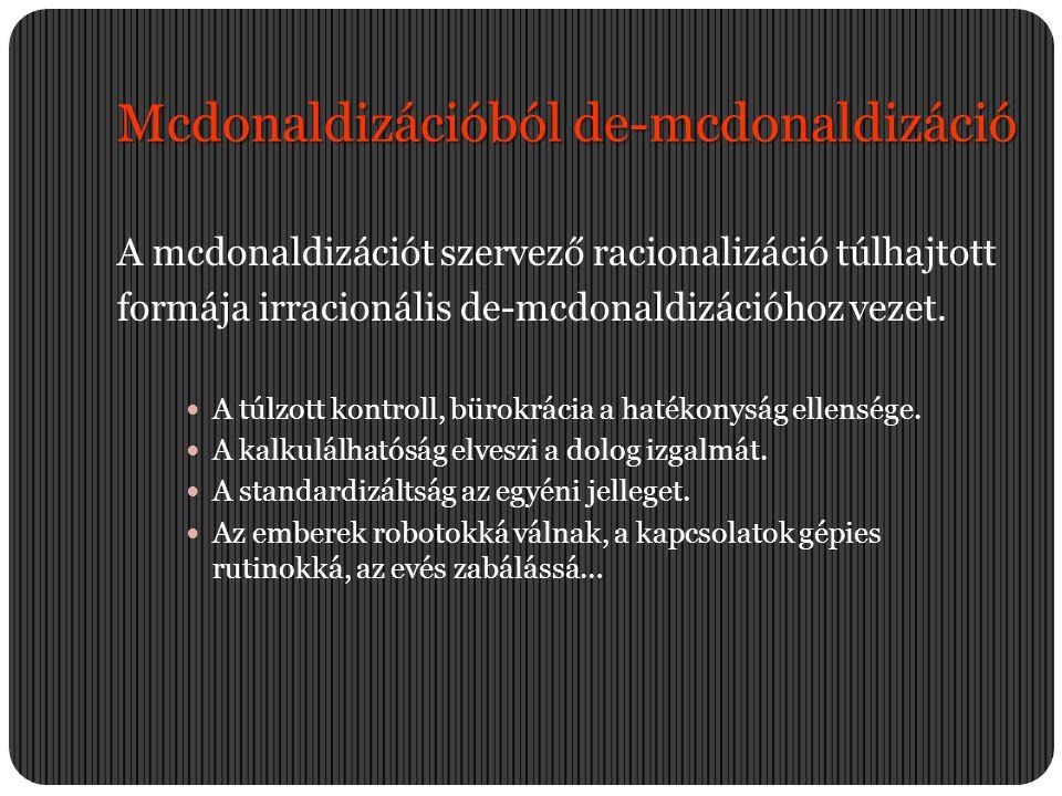 Mcdonaldizációból de-mcdonaldizáció