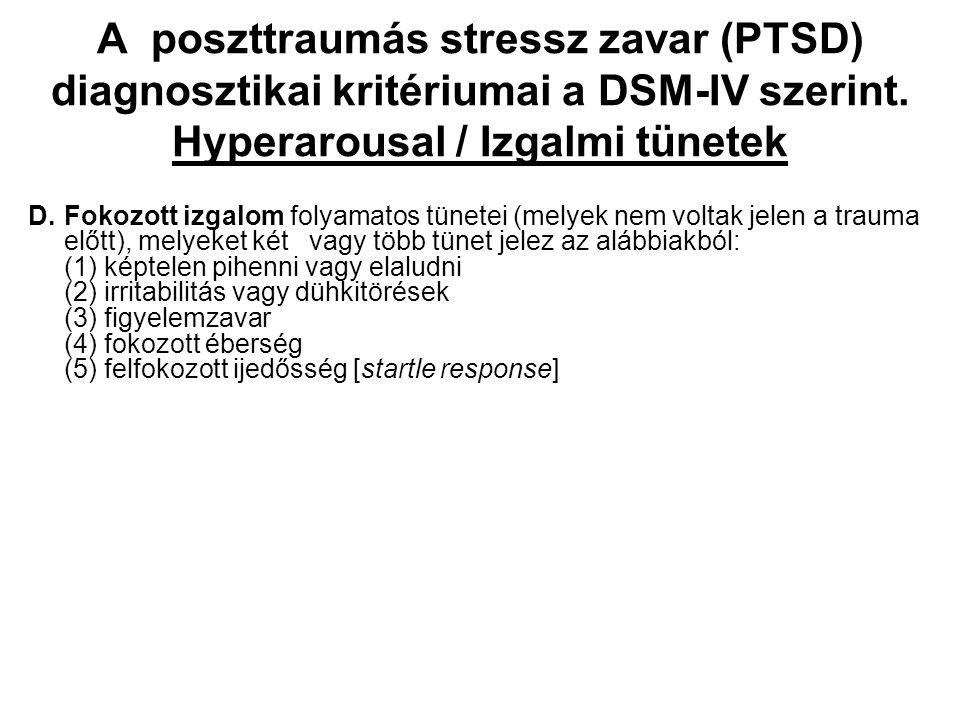 A poszttraumás stressz zavar (PTSD) diagnosztikai kritériumai a DSM-IV szerint. Hyperarousal / Izgalmi tünetek