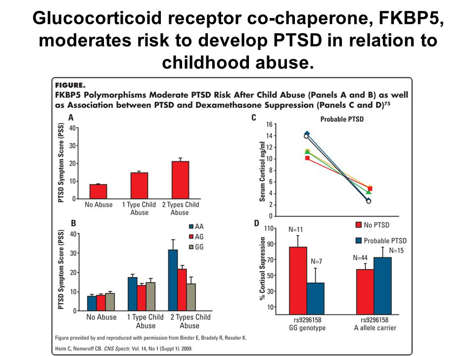 Glucocorticoid receptor co-chaperone, FKBP5, moderates risk to develop PTSD in relation to childhood abuse.