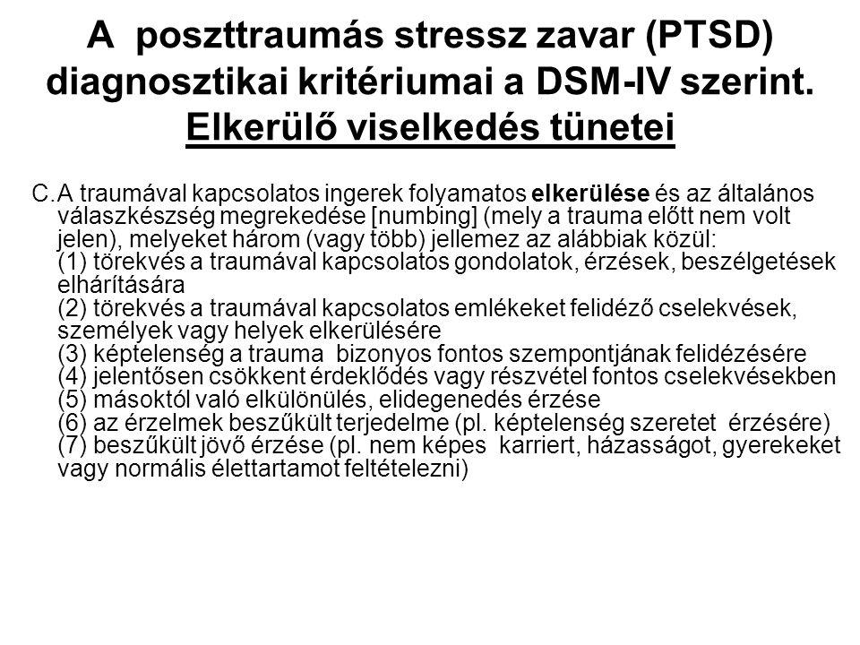 A poszttraumás stressz zavar (PTSD) diagnosztikai kritériumai a DSM-IV szerint. Elkerülő viselkedés tünetei