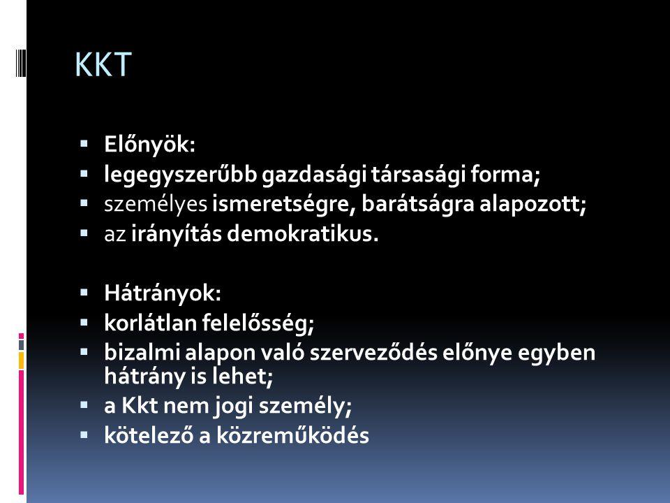 KKT Előnyök: legegyszerűbb gazdasági társasági forma;