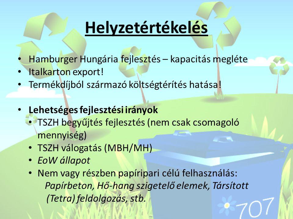 Helyzetértékelés Hamburger Hungária fejlesztés – kapacitás megléte