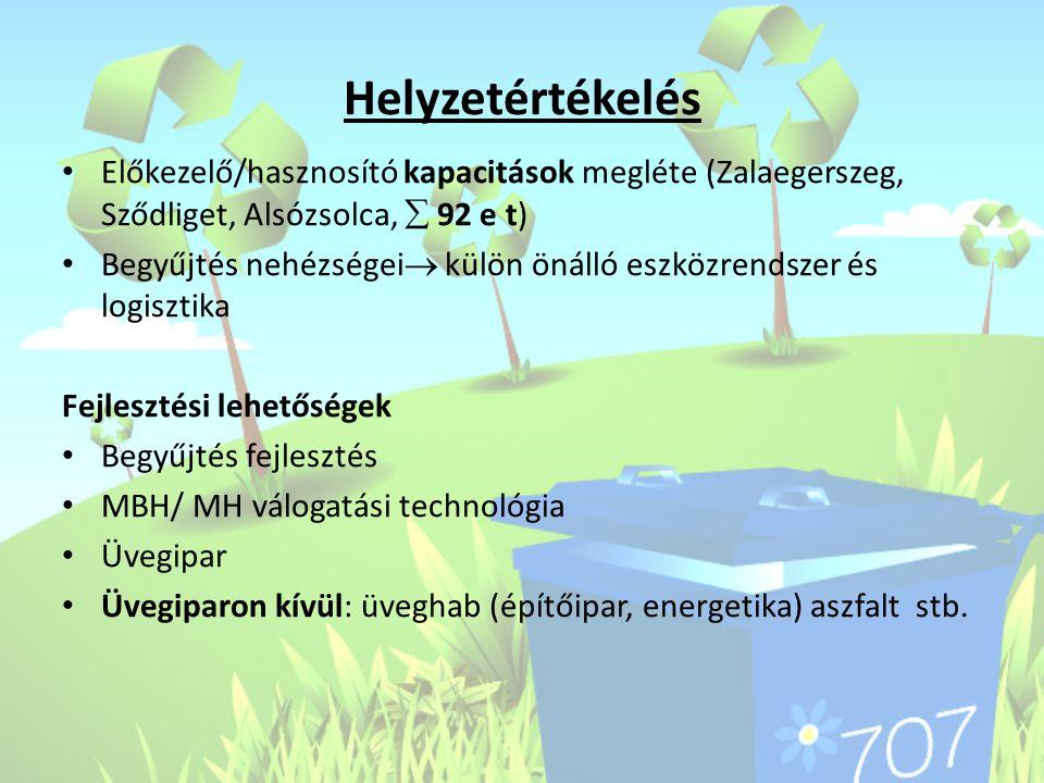 Helyzetértékelés Előkezelő/hasznosító kapacitások megléte (Zalaegerszeg, Sződliget, Alsózsolca,  92 e t)