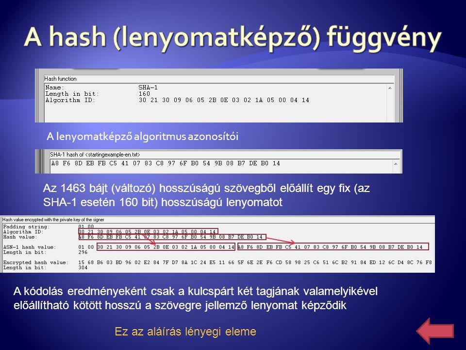 A hash (lenyomatképző) függvény